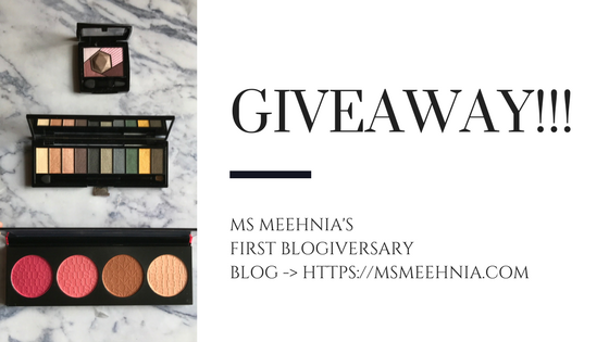 Giveaway on 1st blogiversary Ms Meehnia